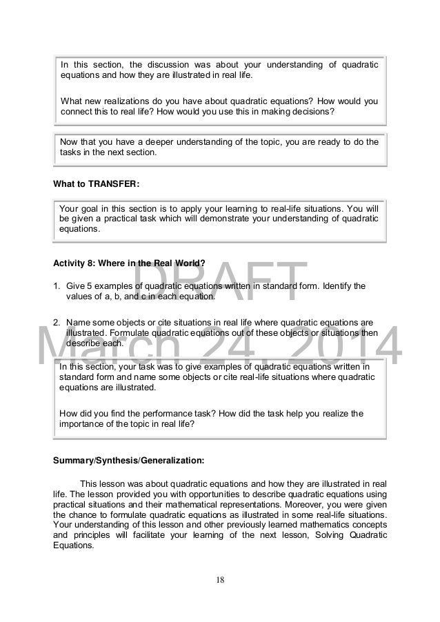 K To 12 Grade 9 Learners Material In Mathematics