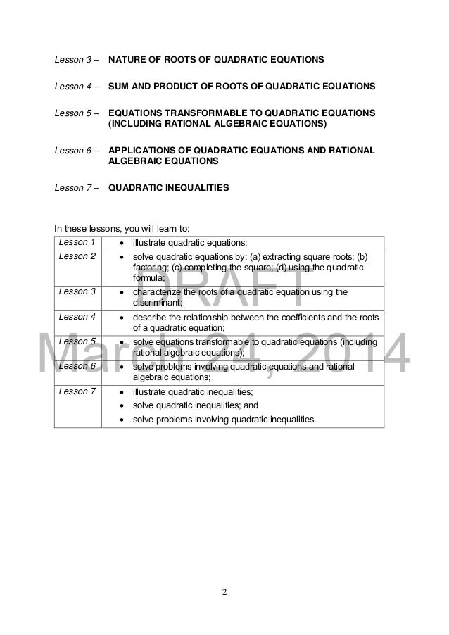 K TO 12 GRADE 9 LEARNER\'S MATERIAL IN MATHEMATICS