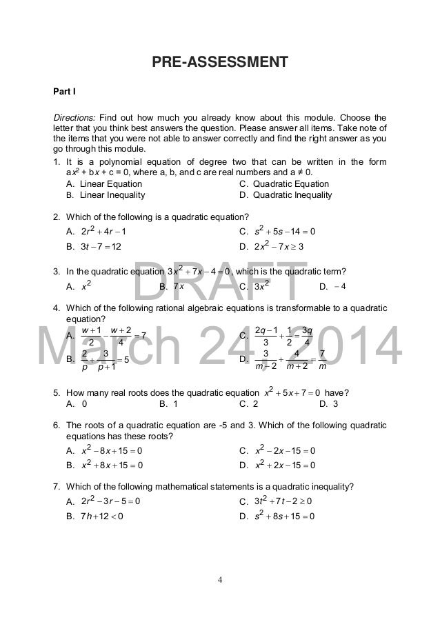 K TO 12 GRADE 9 LEARNERS MATERIAL IN MATHEMATICS – Quadratic Equations Worksheet Pdf