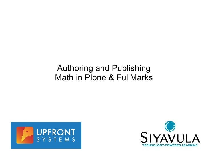 Authoring and Publishing Math in Plone & FullMarks