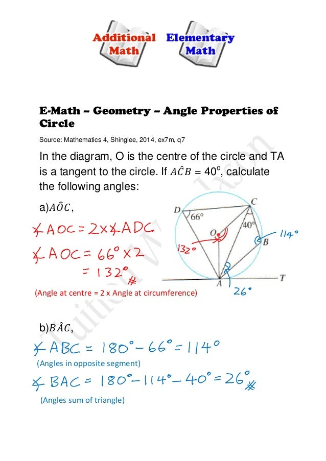 Elementary Math (E-Maths) - Angle Properties of Circle
