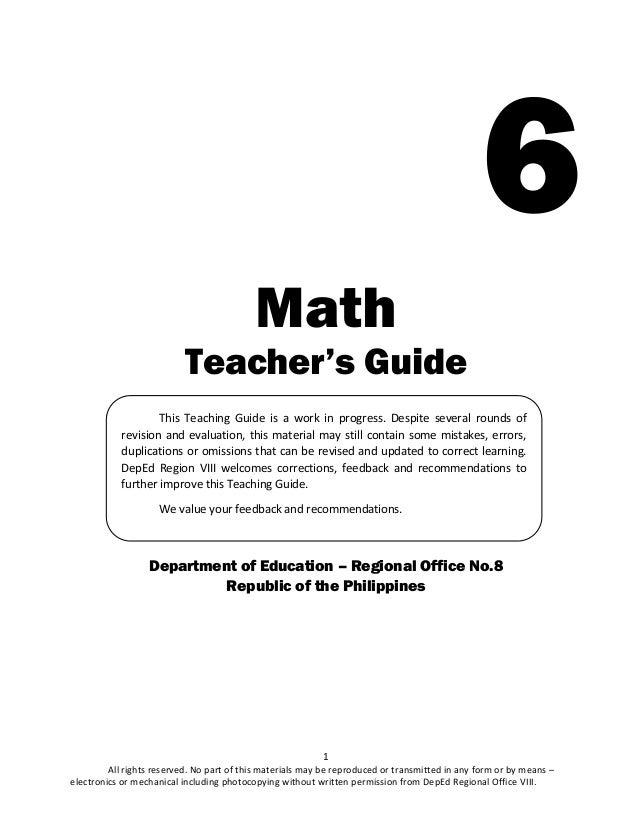 math 6 k 12 teacher s guide q1 rh slideshare net teacher's guide in math grade 8 1st quarter teacher's guide in mathematics grade 8
