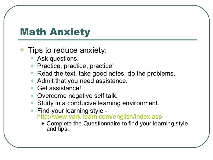how to reduce math test anxiety Feel nervous before a math test  sometimes a bad early experience can lead to a general feeling of anxiety about all math, which can lead to stronger feelings .