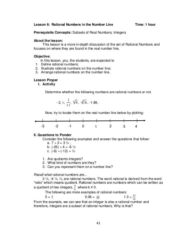 grade 7 math q12 – Rational Numbers on a Number Line Worksheet