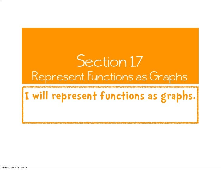 Section 1.7                        Represent Functions as Graphs                   I will represent functions as graphs.Fr...