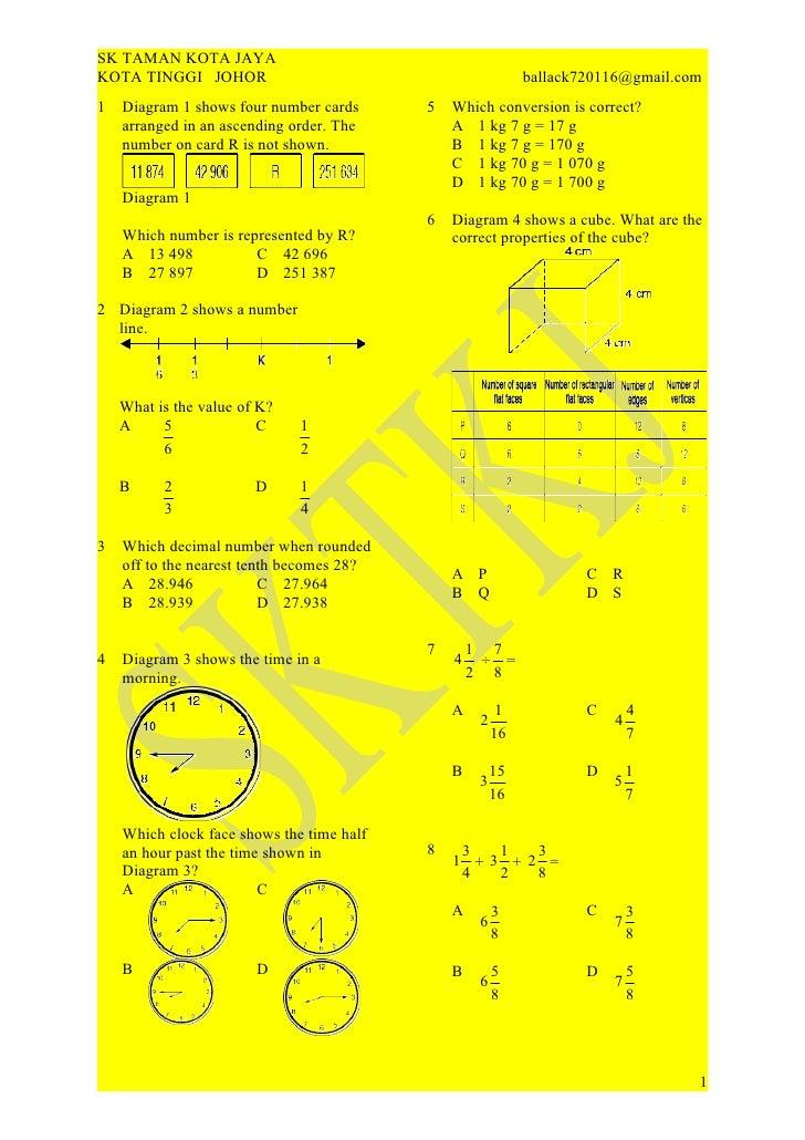 SK TAMAN KOTA JAYAKOTA TINGGI JOHOR                                            ballack720116@gmail.com1   Diagram 1 shows ...