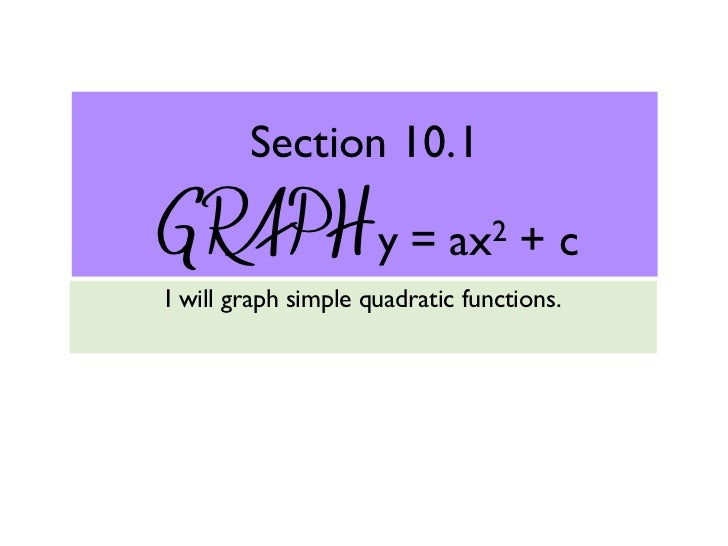 Section 10.1GRAPH y =                   ax2    +cI will graph simple quadratic functions.