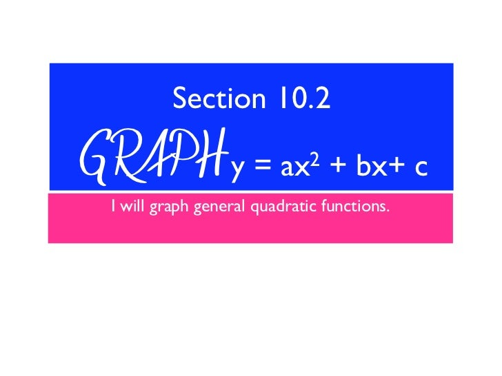 Section 10.2GRAPH y =                ax2     + bx+ c I will graph general quadratic functions.