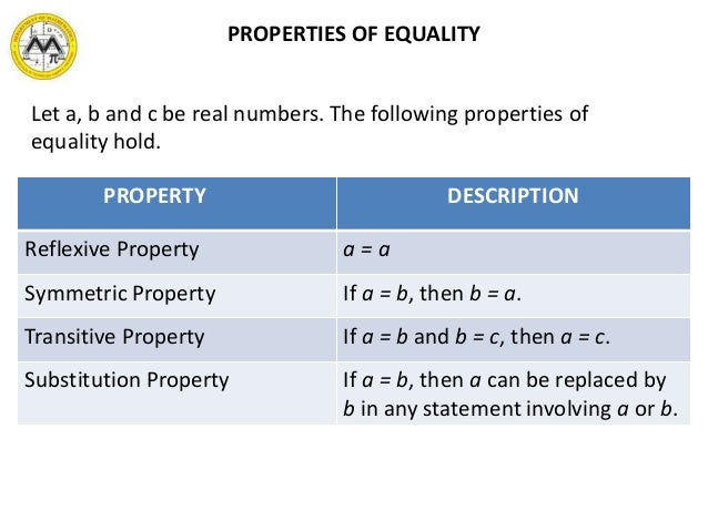 Properties Of Equality And Real Numbers