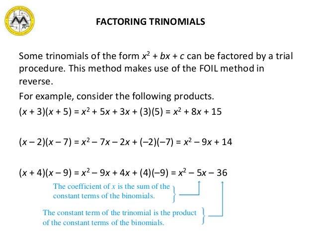 MIT Math Syllabus 103 Lesson 2 Polynomials – Factoring X2 Bx C Worksheet