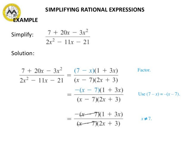 Free Worksheets factoring algebraic expressions worksheet : MIT Math Syllabus 10-3 Lesson 3: Rational expressions