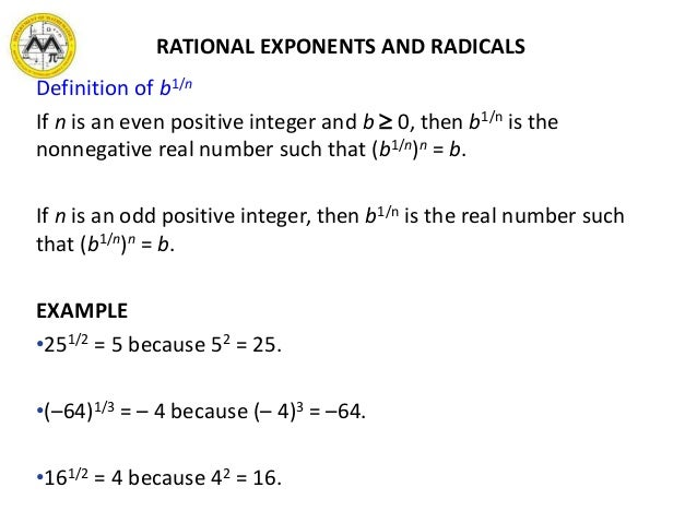 integer and rational expressions Rational expressions and rational exponents are both basic mathematical constructs used in a variety of situations both types of expressions can be represented both graphically and symbolically the most general similarity between the two is their forms a rational expression and a rational exponent are.