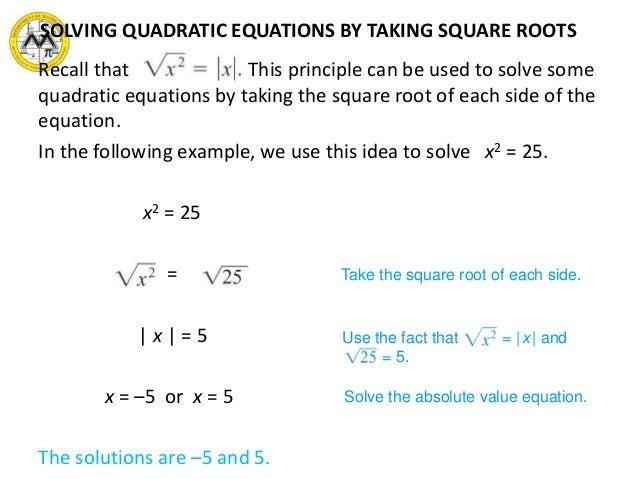 roots of quadratic equation pdf