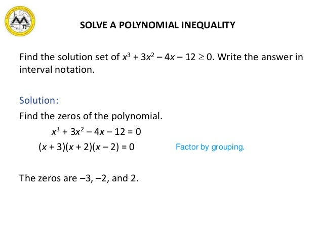 Writing a solution set