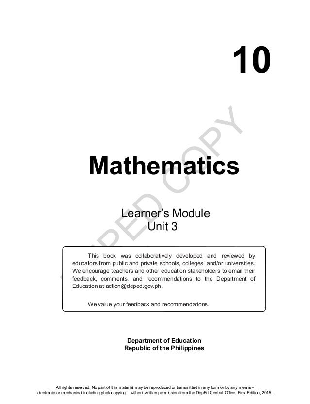 Mathematics 10 learners material unit 3 d eped c o py 10 mathematics department of education republic of the philippines this book fandeluxe Choice Image