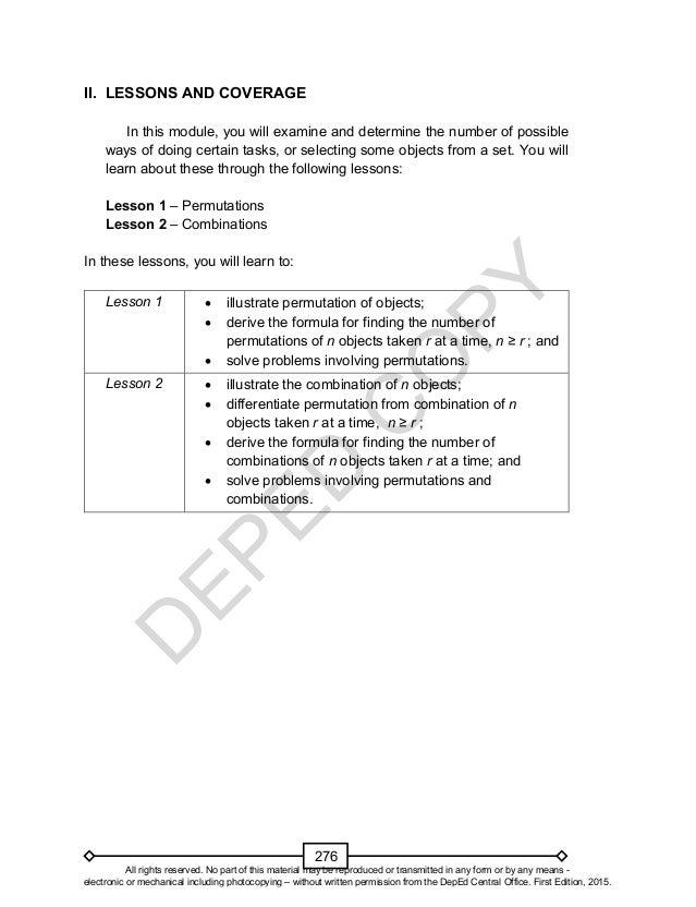 Mathematics 10 Learner's Material Unit 3