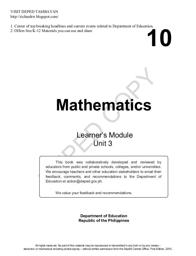 D EPED C O PY 10 Mathematics Department of Education Republic of the Philippines This book was collaboratively developed a...