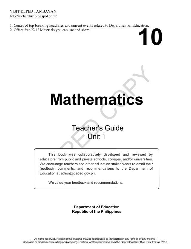 math10 tg u1 rh slideshare net Wordle Science Teachers Math Resources for Teachers