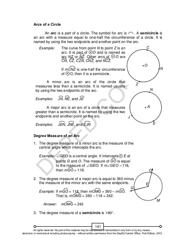 arc of a circle minor major and central angle math worksheet arc best free printable worksheets. Black Bedroom Furniture Sets. Home Design Ideas