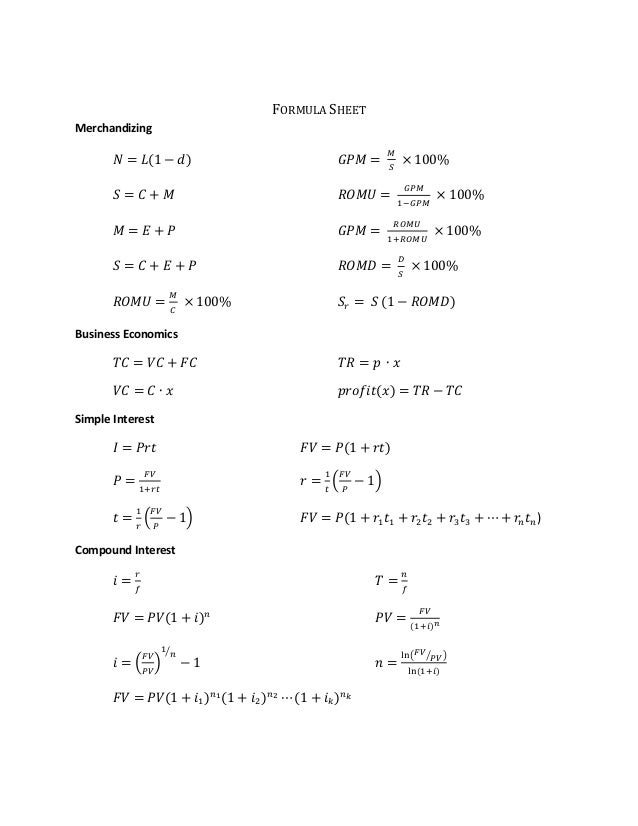 Math 114 formulas of whole session for okanagan college students