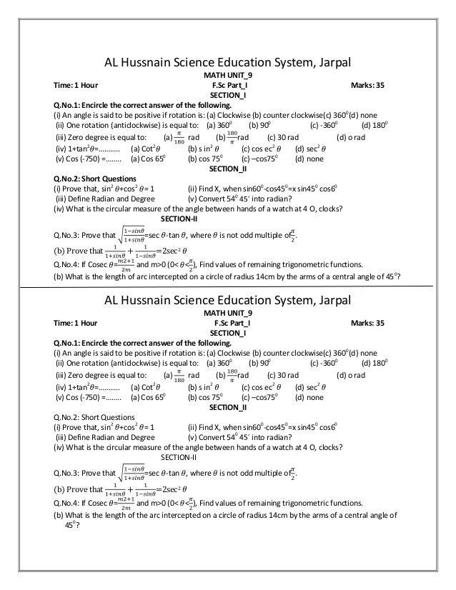 AL Hussnain Science Education System, Jarpal MATH UNIT_9 Time: 1 Hour F.Sc Part_I Marks: 35 SECTION_I Q.No.1: Encircle the...
