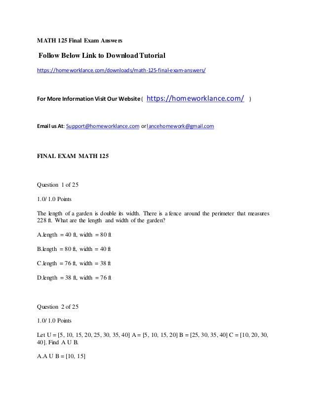 Math 125 final exam answers
