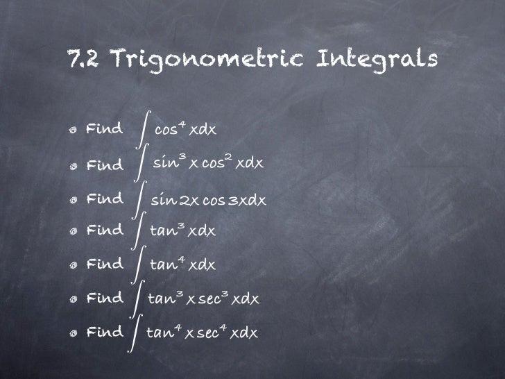 7.2 Trigonometric Integrals Find Find Find Find Find Find Find
