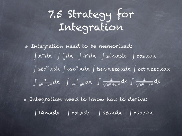 7.5 Strategy for          IntegrationIntegration need to be memorized:                        √           √    −          ...