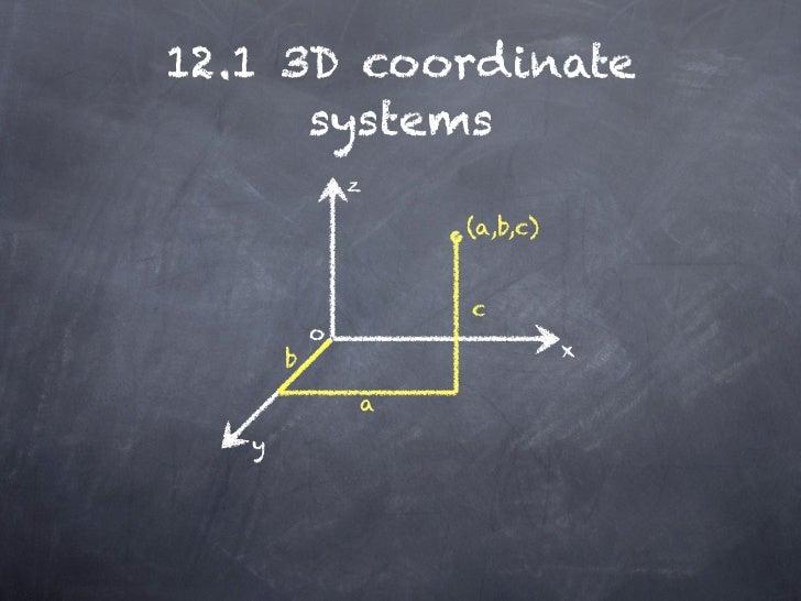 12.1 3D coordinate      systems               z                   (a,b,c)                   c           o       b         ...