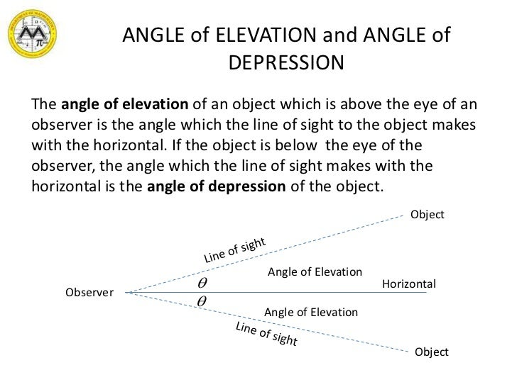 Angle of elevation and depression word problems worksheet pdf
