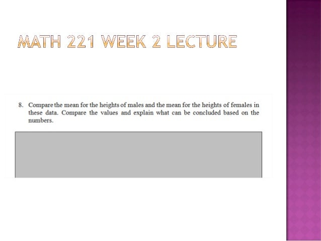 ilab week 6 math 221 Free essay: statistics – lab #6 name:______ statistical concepts:  data   essay about ilab week 6 devry  ilab week 6 math 221 essay.