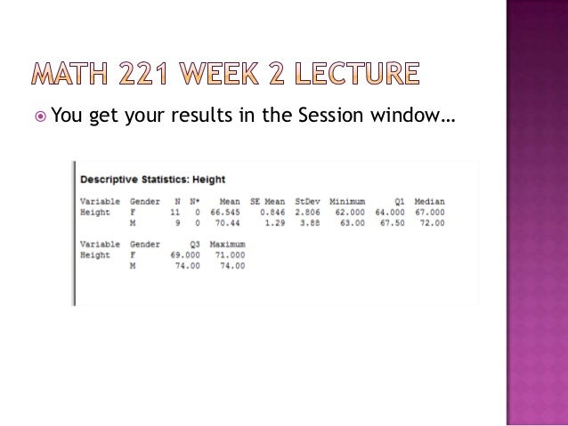 math 221 week 2 lab answers Math 221 week 2 lab perfect a+ answer  a+ 13 math 221 week 2 ilab statistics lab name math221 statistical concepts using minitab graphics shapes of .