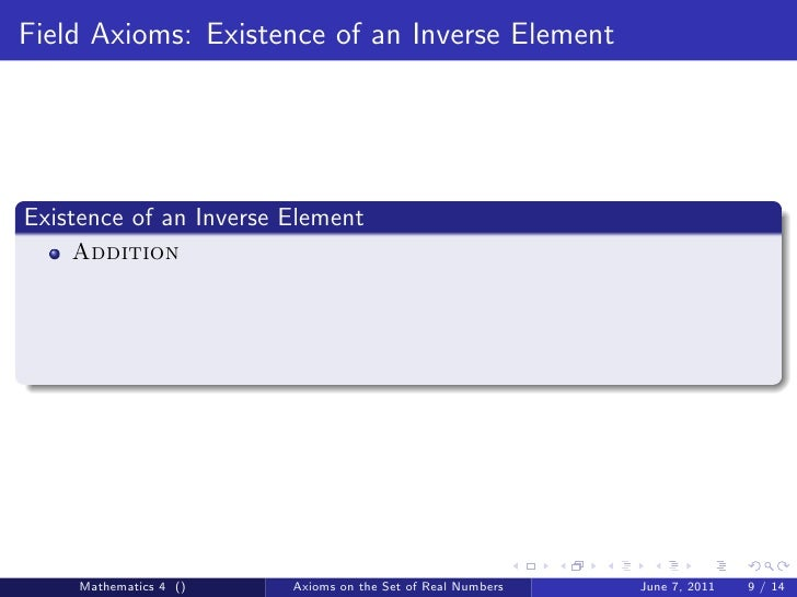 axioms of real numbers Field axioms thursday 26  plication, denoted , satisfying the following field  axioms: fa0 (closure under  real numbers r • nonnegative.