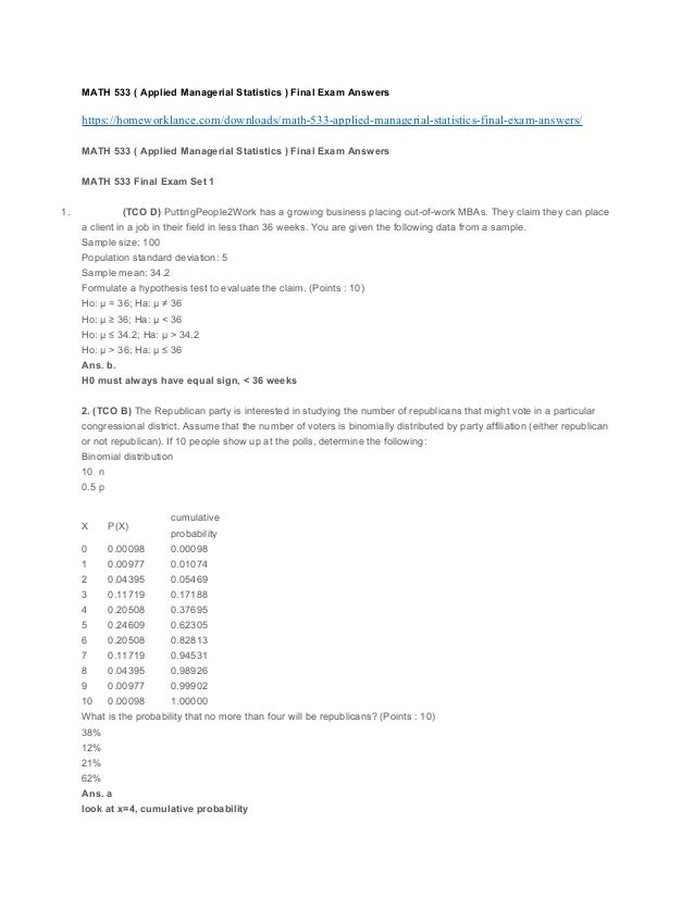 Math 533 Applied Managerial Statistics Final Exam Answers