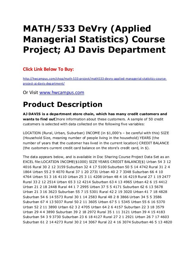 Math 533 De Vry Applied Managerial Statistics Course