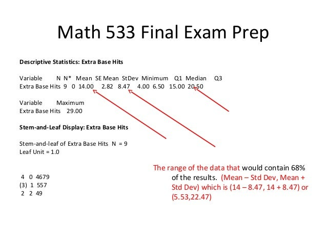 math 533 final exam Math 533 final exam 3 math 533 final exam1 the length of time to do a cable installation by multi-cable inc is normally distributed with a mean of 428 minutes and a standard deviation of 62 minutes.