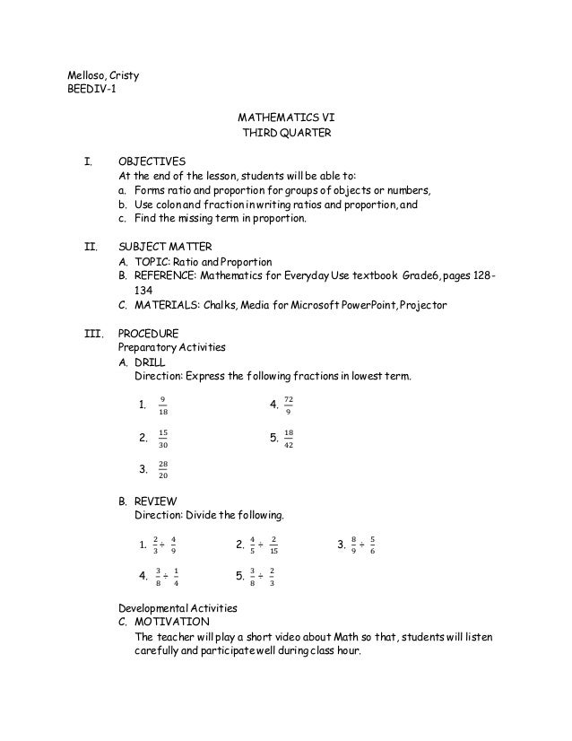 Math 6 lesson plan - RATIO AND PROPORTION