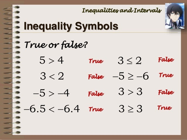 Math 7 inequalities and intervals