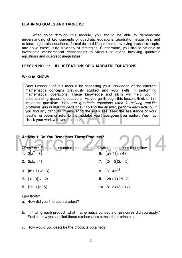 Math 9  Module 1  U0026 2