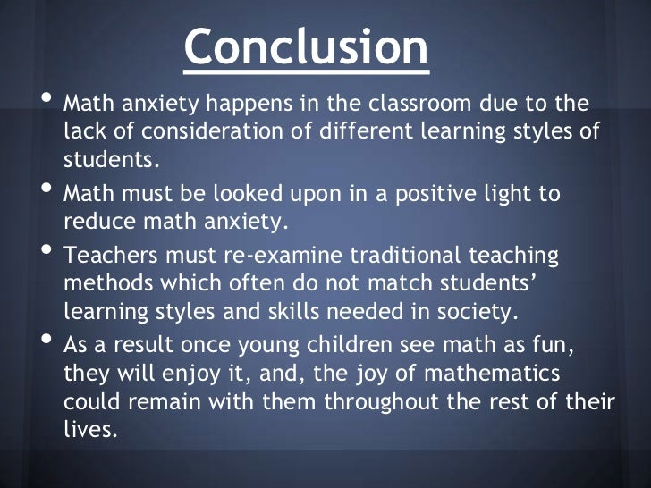 math anxiety essays Understanding mathematics anxiety learning mathematics can be challenging however, not all mathematics difficulties result from cognitive difficulties.