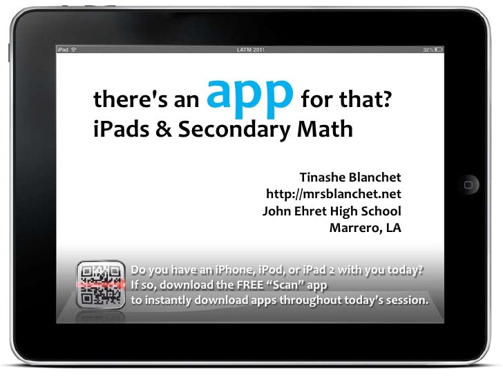 theres an      app                  for that?iPads & Secondary Math                                 Tinashe Blanchet      ...