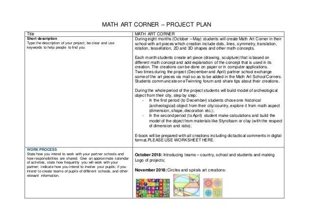 Math art corner project plan 2018-19