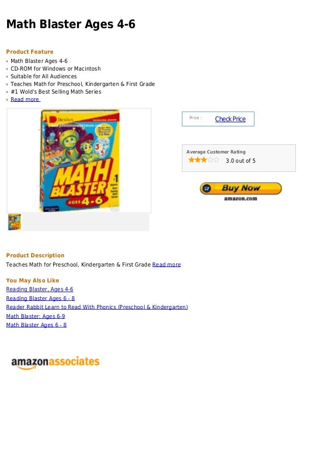 Math Blaster Ages 4-6Product Featureq   Math Blaster Ages 4-6q   CD-ROM for Windows or Macintoshq   Suitable for All Audie...