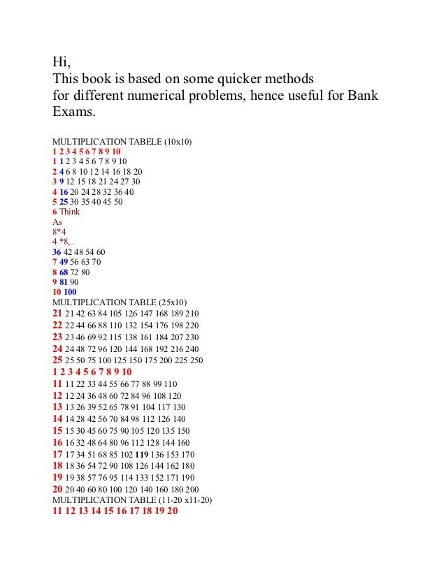 Hi,This book is based on some quicker methodsfor different numerical problems, hence useful for BankExams.MULTIPLICATION T...