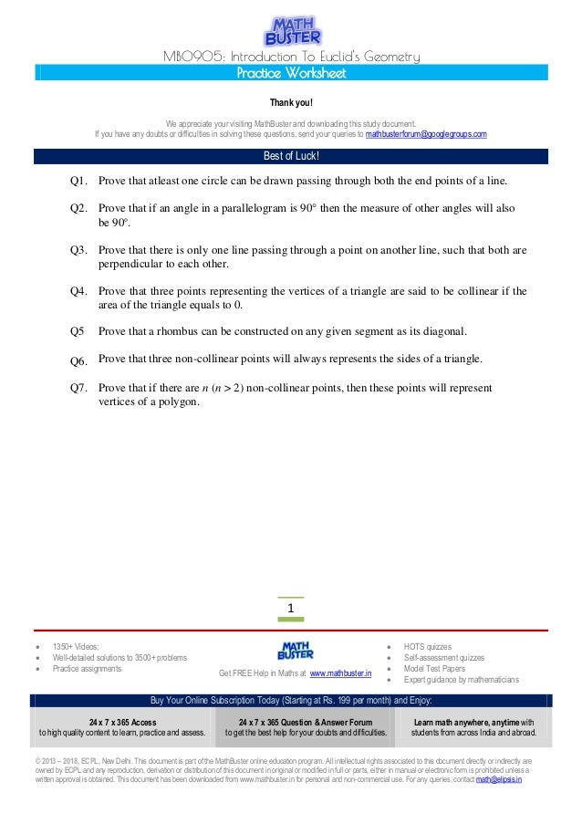 Mathbuster Practice Worksheet Cbse Class 9 Chapter 5 Algebra Geometry Worksheets Mb0905 Introduction To Euclid\u0027s Geometry Practice Worksheet ς� 1350 Videos; ς� Well
