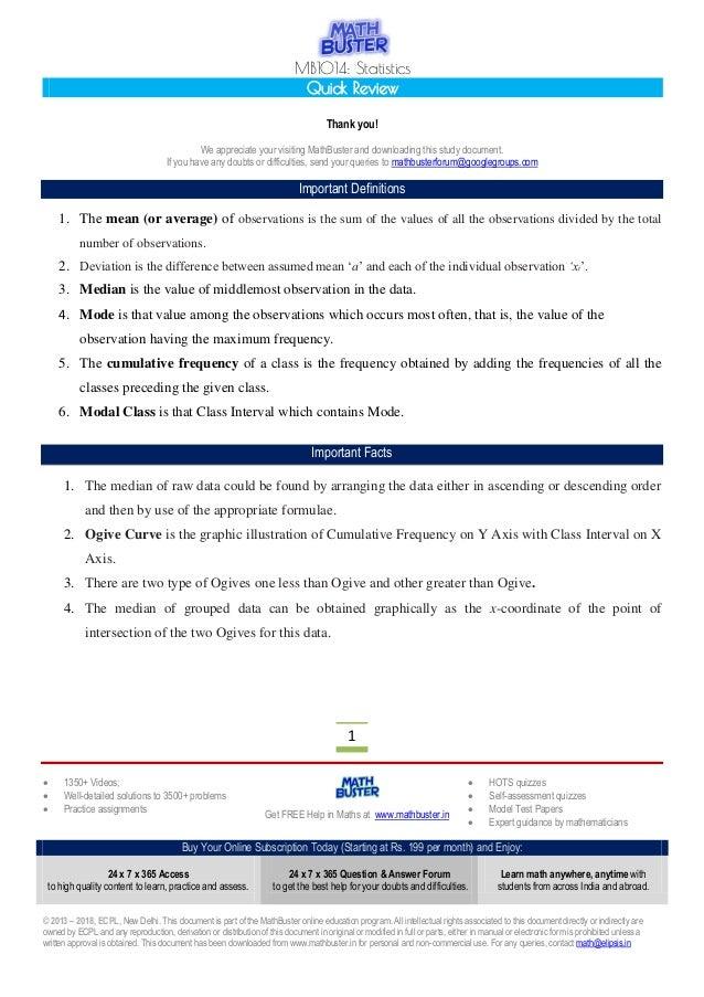 Statistics] MathBuster Quick Review CBSE Class 10 Chapter 14