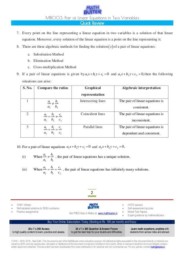 MathBuster Quick Review CBSE Class 10 Chapter 3
