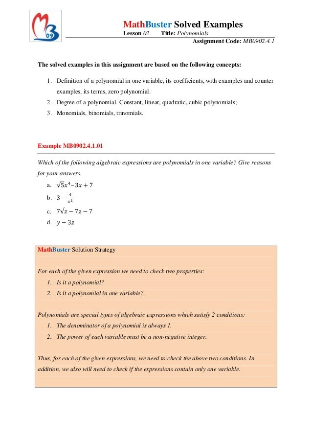 MathBuster Solved Examples                                  Lesson 02      Title: Polynomials                             ...