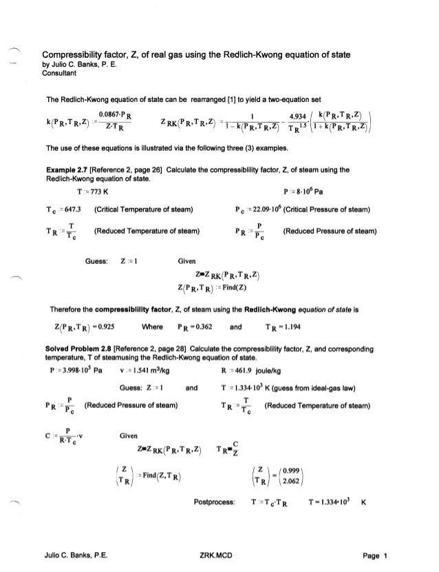 compressibility examples. compressibility factor, z, of real gas using the redlich-kwong equation state examples