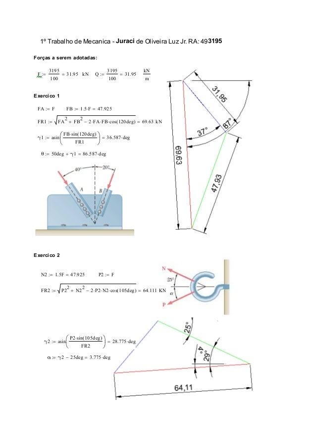 1º Trabalho de Mecanica - Juraci de Oliveira Luz Jr. RA: 493195 Forças a serem adotadas: F 3195 100 31.95 kN Q 3195 100...